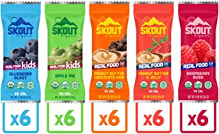 Skout Organic Real Food Bars for Kids Variety Pack (30 Pack) | Organic Snacks for Kids | Plant-Based Nutrition, No Refined...