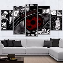 HAO SHUN DA Modular Wall Art Pictures Canvas HD Printed Anime Painting Framed 5 Pieces Naruto Sharingan Poster Modern Home Decor Room (16x24in2 16x32in2 16x40in1(Frame))
