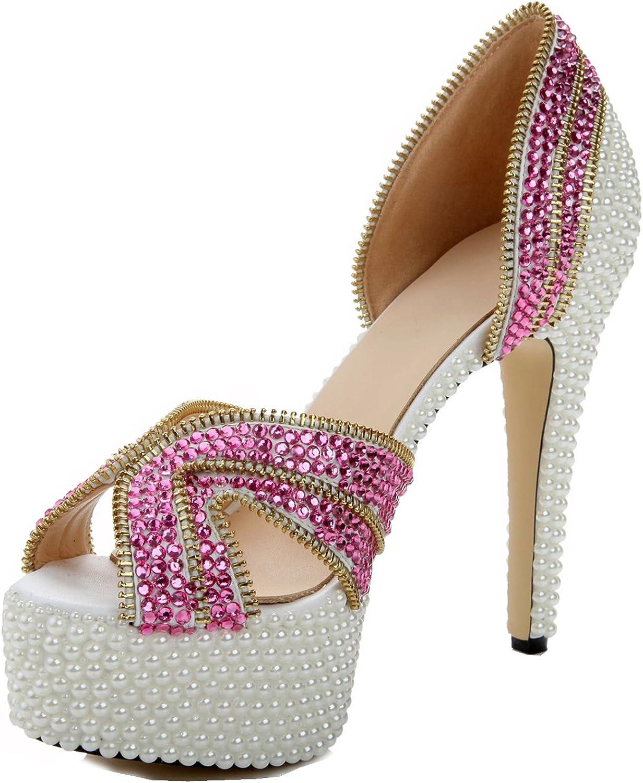 L@YC Damenschuhe PU Frühling Sommer Komfort Sandalen High Heel Peep Toe für Hochzeit & Abend Strass