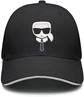 Karl-Lagerfeld-Black- Baseball Cap for Men Women-Classic Cotton Dad Hat Plain Cap Low Profile
