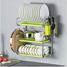 WYHA Wall-Mounted Kitchen Racks, Multi-Function Three-Layer Dish Rack, Home Storage Rack, (Color : Green)