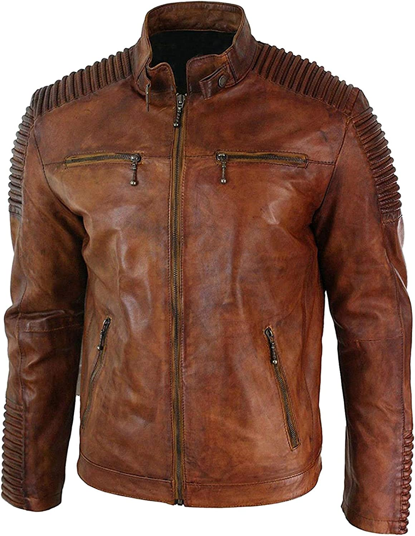 Mens Biker Vintage Motorcycle Cafe Racer Brown Distressed Leather Jacket