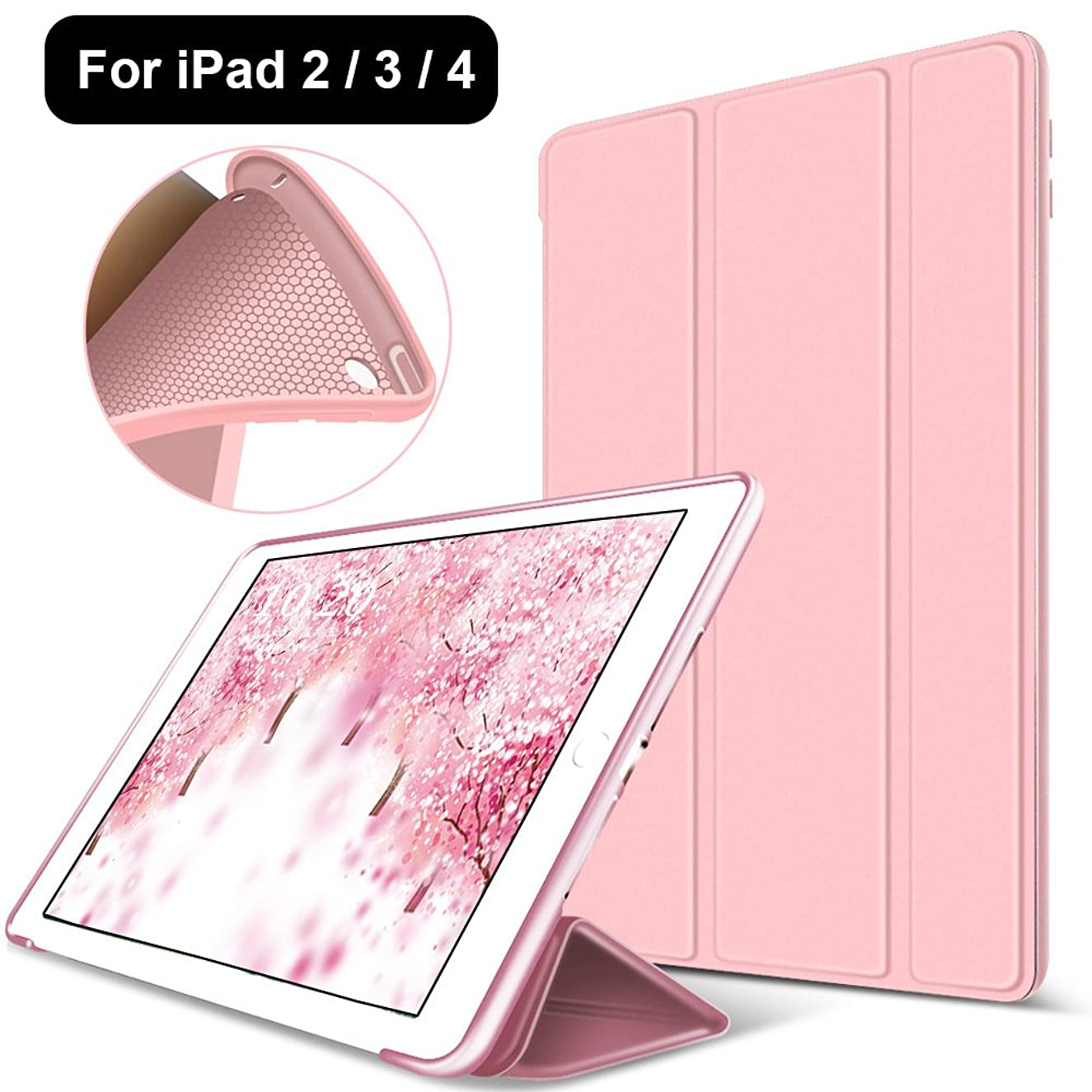 iPad 2/3/4 Case,Mektron Microfiber Lining Smart Case Trifold Stand with Auto Sleep Wake Function Full Silicone Soft Back Cover For Apple iPad 2 3 4,Rose Gold