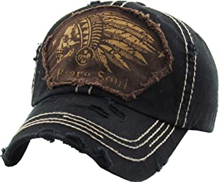 Chief Skull and Free Spirit Hat Collection Distressed Washed Cotton Adjustable Fashion Trucker Twill Mesh Cap