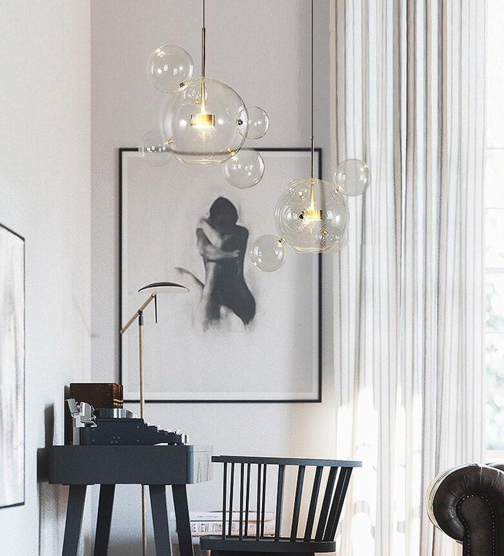 RUOQI Nordic Restaurant Bubble Ball LED Chandelier Bar Window Gallery Living Room Lamp Creative Glass Magic Bean Molecular Chandelier