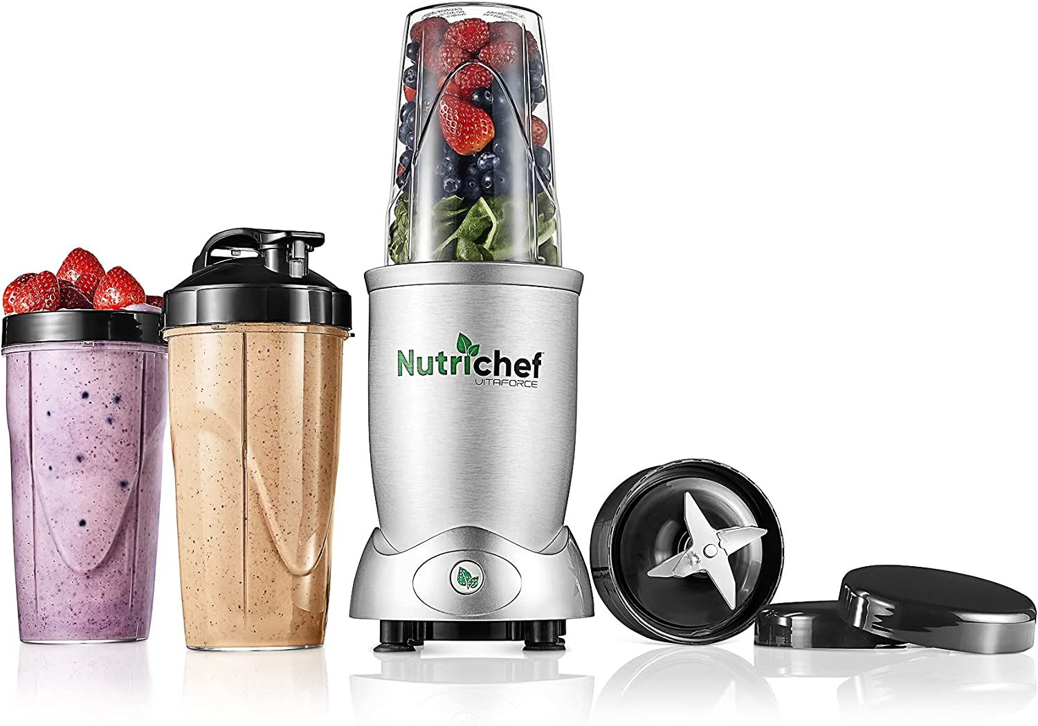 Personal Electric Single Serve Blender - 1200W Professional Kitchen Countertop Mini Blender for Shakes and Smoothies w/ Pulse Blend, Convenient Lid Cover, Portable 10 & 24 Oz Cups - NutriChef NCBL12