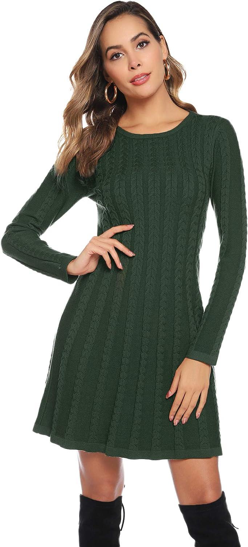 Abollria Vestito di Maglione Elegante Donna Collo Alto o Girocollo Abito Midi di Svasato Invernale Vestito Accollato in Maglieria Casual a Manica Lunga per Primavera Autunno Inverno