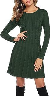 Abollria Vestito di Maglione Elegante Donna Collo Alto o Girocollo Abito Midi di Svasato Invernale Vestito Accollato in Ma...
