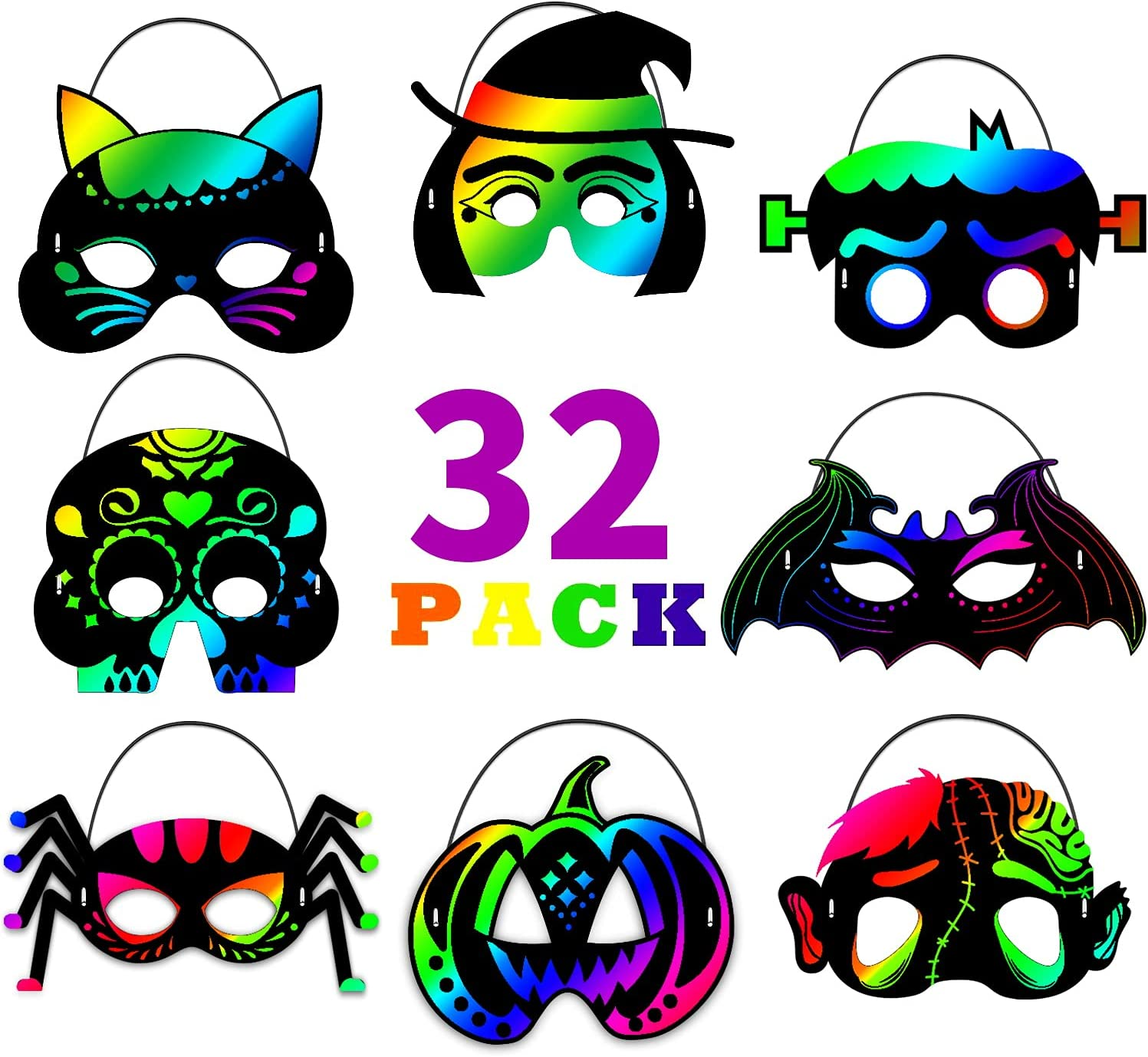Halloween Crafts for Kids Dealing full price reduction 64Pcs Rainbow Boston Mall Favors Scratch
