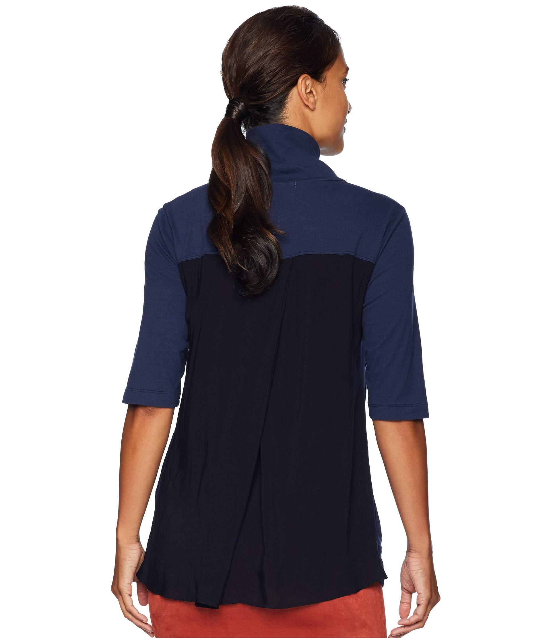 Classic Navy Back Mod doc Tee True Neck o Pleated Elbow Button Sleeve With Jersey pp6qUwE