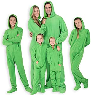 Footed Pajamas - Family Matching Shamrock Green Hoodie Onesies for Boys, Girls, Men, Women and Pets