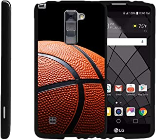 TurtleArmor | Compatible with LG Stylus 2 Plus Case | LG Stylo 2 Plus Case [Slim Duo] Hard 2 Piece Protector Slim Shell Snap On Cover on Black Sport and Games - Basketball Seams
