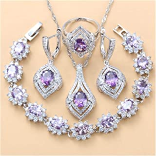 فساتين الزفاف، مجوهرات كريستالية، مجموعة مجوهرات هدايا للنساء هدايا الذكرى السنوية لها (اللون: 4 قطع، الحجم: 7)