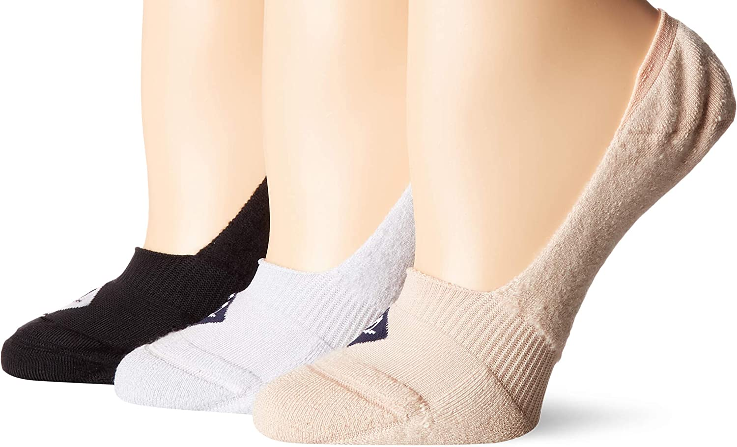 Sperry Women's 3 Pack Microfiber Cushion No Show Liner Socks, Black Assorted, Shoe Size: 5-10