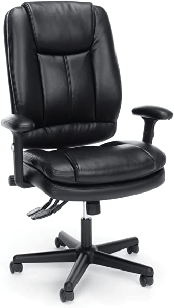 Essentials High Back Executive Chair Leather Office Chair With Adjustable Arms Black ESS 6050 BLK