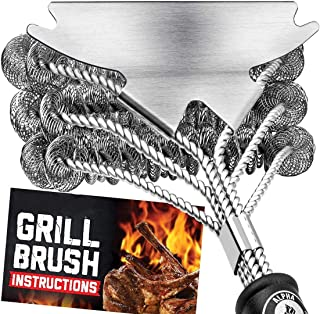 Orchid M Grill Brush Bristle Free. Best Safe BBQ Cleaner with Extra Wide Scraper. Perfect 17 Inch Stainless Steel Tools fo...