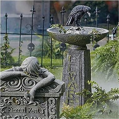 Halloween Decorations Outdoor, Halloween Crow Beware Bird Bath Bowl,Halloween Decor Multi-Purpose Polyresin Bird Baths Tray O