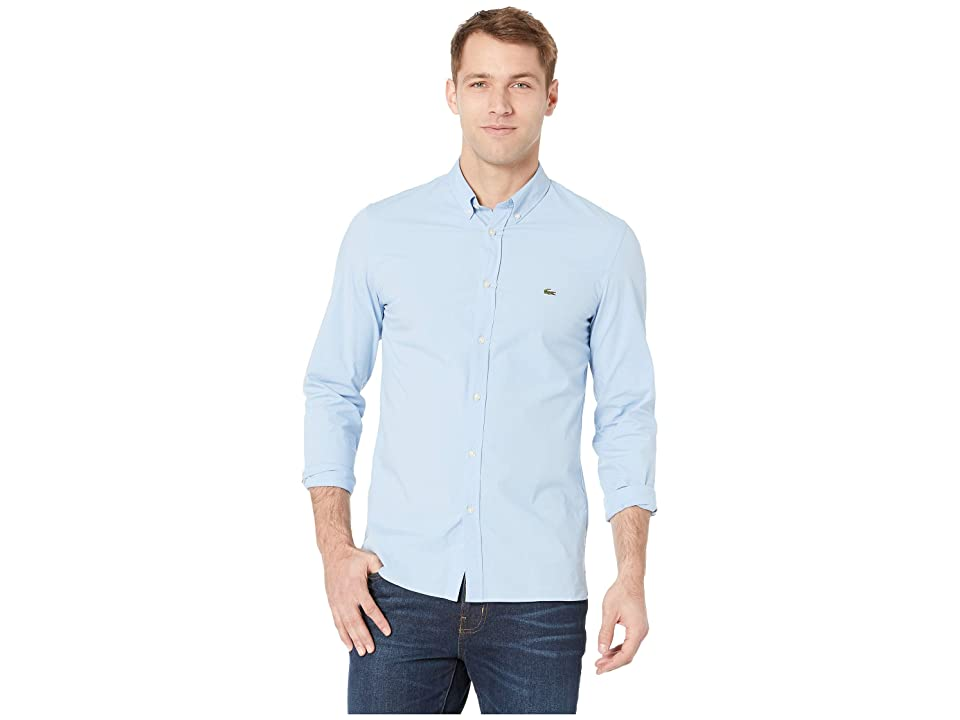 Lacoste Long Sleeve Solid Poplin Stretch Button Down Collar Slim (Creek) Men