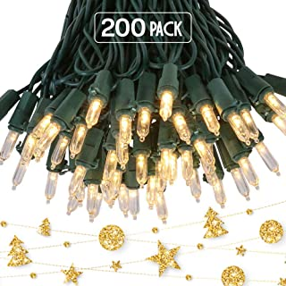 Kicko Christmas Light - 2 Pack, 100 Count Clear Incandescent Light on Green Wire for Christmas Tree, Indoor and Outdoor Pa...