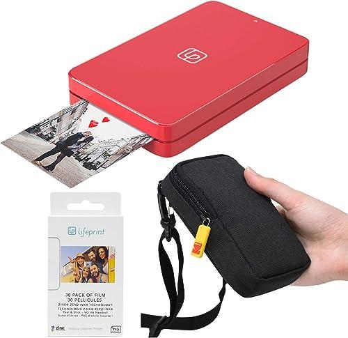 Lifeprint 2x3 Portable Photo and Video Printer (Red) Travel Kit