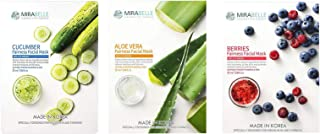 MIRABELLE COSMETICS KOREA Fairness Facial Mask CUCUMBER ALOEVERA AND BERRIERS PACK OF 3 MADE IN KOREA SUITABLE FOR ALL SKIN TYPE