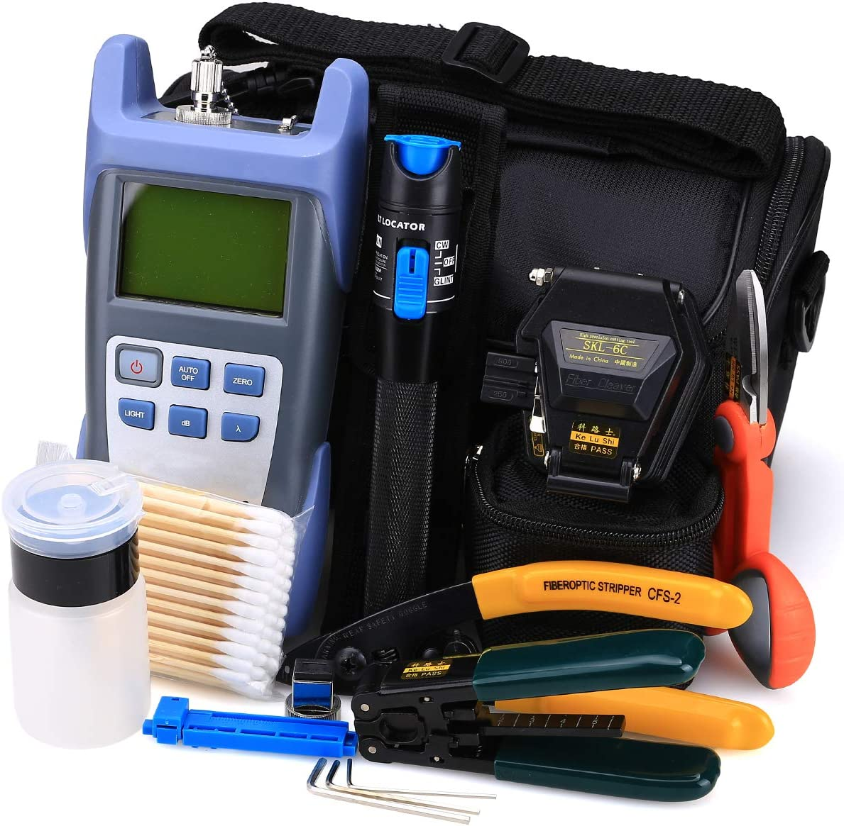 Kit de herramientas de fibra óptica FTTH 18 en 1 con medidor de potencia de fibra óptica, localizador visual de fallas y herramienta de pelado 6C de cuchilla de fibra