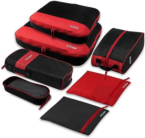 AirCase C23 Packing Cubes Travel Pouch Set Travel Organizer Black 7 Piece Set