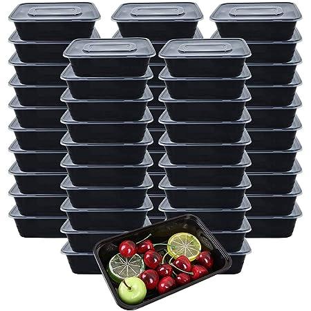 [Lot de 50] 750ml Meal Prep Containers Reutilisable 1 Compartiment Food Container Boite Alimentaire Lunch Box Fait de Plastique Sans BPA, Empilable, Micro-ondable, Congélateur et Lave-vaisselle- 750ML