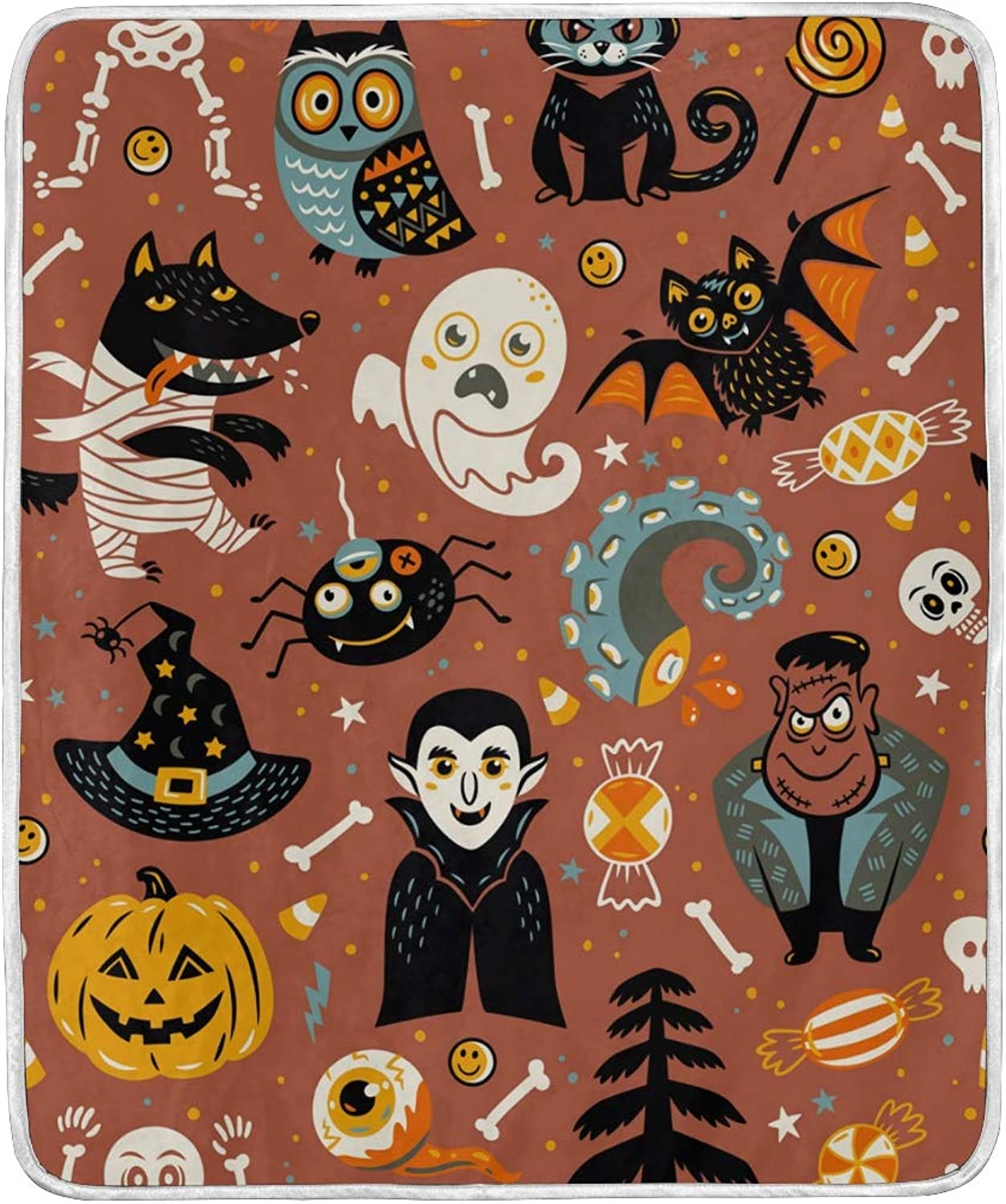HELVOON Halloween Background Pumpkin Ghost Owl Throw Blanket Soft Warm Lightweight Blankets for Bed Couch Sofa Travelling Camping 60 x 50 Inch