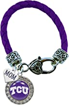 TCU Horned Frogs Purple Leather Bracelet WITH MOM CHARM Jewelry Texas Christian