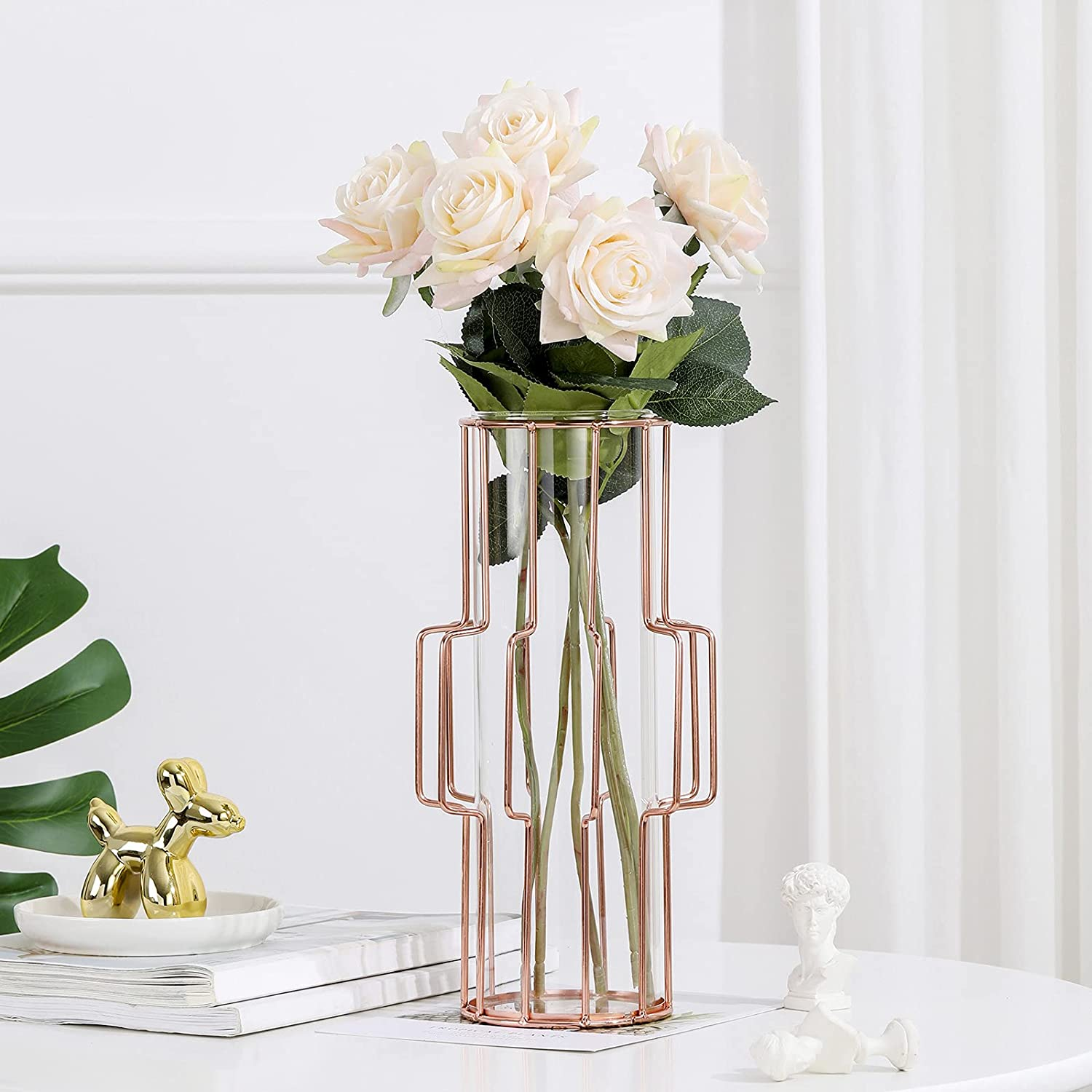 Glass Vase with Geometric Metal 4 years warranty Inner Max 47% OFF Frame Crystal Transparent