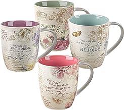 Juego de tazas de café y té de cerámica para mujer, diseño botánico vintage, diseño de inspiración floral botánica, juego ...