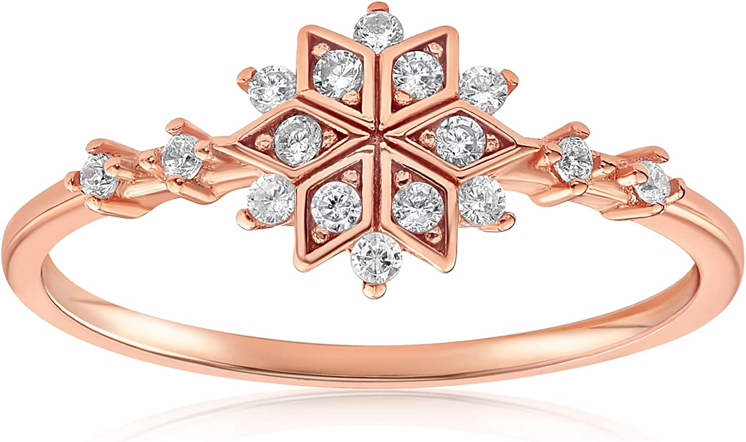 Dainty Delicate Cubic Zirconia Band for Women Blush /& Bar Sophia Snowflake Ring Girls Valentines Mothers Day Jewelry Gifts Gold Ring Stackable Ring Dainty Ring Cluster Ring Teens