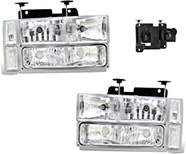 SPPC Clear Crystal Headlights Assembly Sets For Chevy Fullsize - (Pair) Driver Left and Passenger Right Side Replacement Headlamp