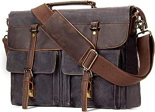 emissary Messenger Bag |15.6'' Laptop Bag | Waterproof Waxed Canvas and Leather Messenger Bag for Men or Women | Satchel Bag | Briefcase (Grey)