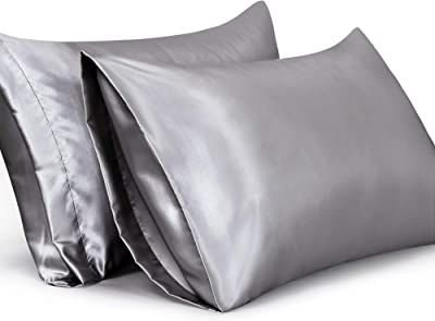 Leeden Satin Pillowcases Set of 2 Ultra Soft King Size Cooling Breathable Pillow Cases for Hair and Skin Satin Dark Grey 20x40 Inches 2 Pack Pillow Case Covers
