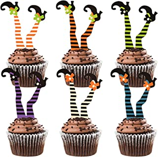 Donoter 36 Pcs Witch's Boot Cupcake Toppers Halloween Cupcake Picks for Halloween Party Decoration Supplies, 6 Colors