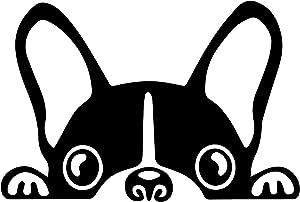 AGL Boston Terrier Peeking Sticker Vinyl Car Decoration Window Wall Sticker Laptop Decal Peep Animal Decorative Stickers (9x6)