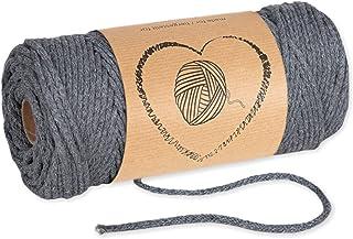 Baumwollkordel Kordel Baumwolle grau makramee garn 3mm - Baumwollgarn baumwollschnur baumwollseil kordelband mit Polyester-Kern 50M farbig
