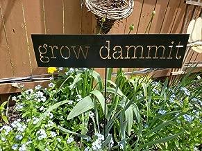 qilami 10x44cm, Grow Dammit Metal Garden Stake Funny Garden Stake Sign Distressed Rusted Metal Sign Farmhouse Decor Garden Humor Garden Marker Gardener Gift 862595