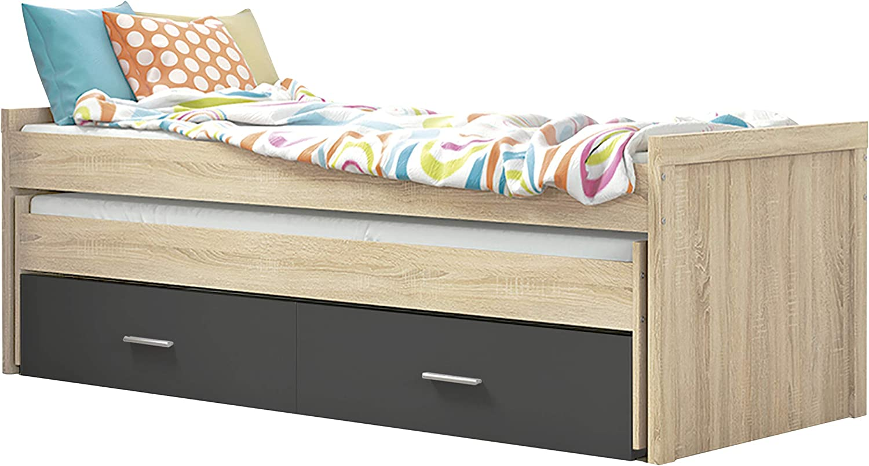 Cama Nido Juvenil con Dos Camas y Dos Cajones, Cama para habitación y/o Dormitorio, Color Cambria y Grafito, Modelo Lara, Medidas: 200,5 cm (Largo) x ...