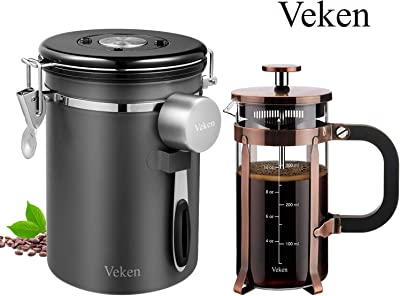 Veken French press Coffee Maker & Coffee Canister Bundle