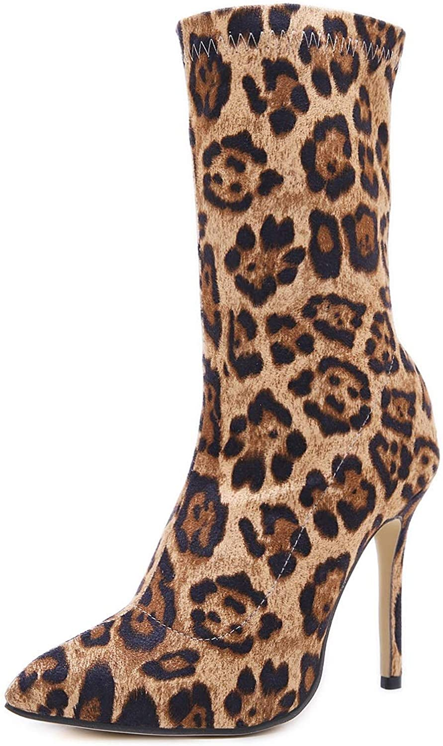 2018 Autumn Winter Stars with The Same Pointed Tide Women's shoes Side Zipper High-Heeled Single Boots Personality Leopard Stiletto Ladies Calf Boots