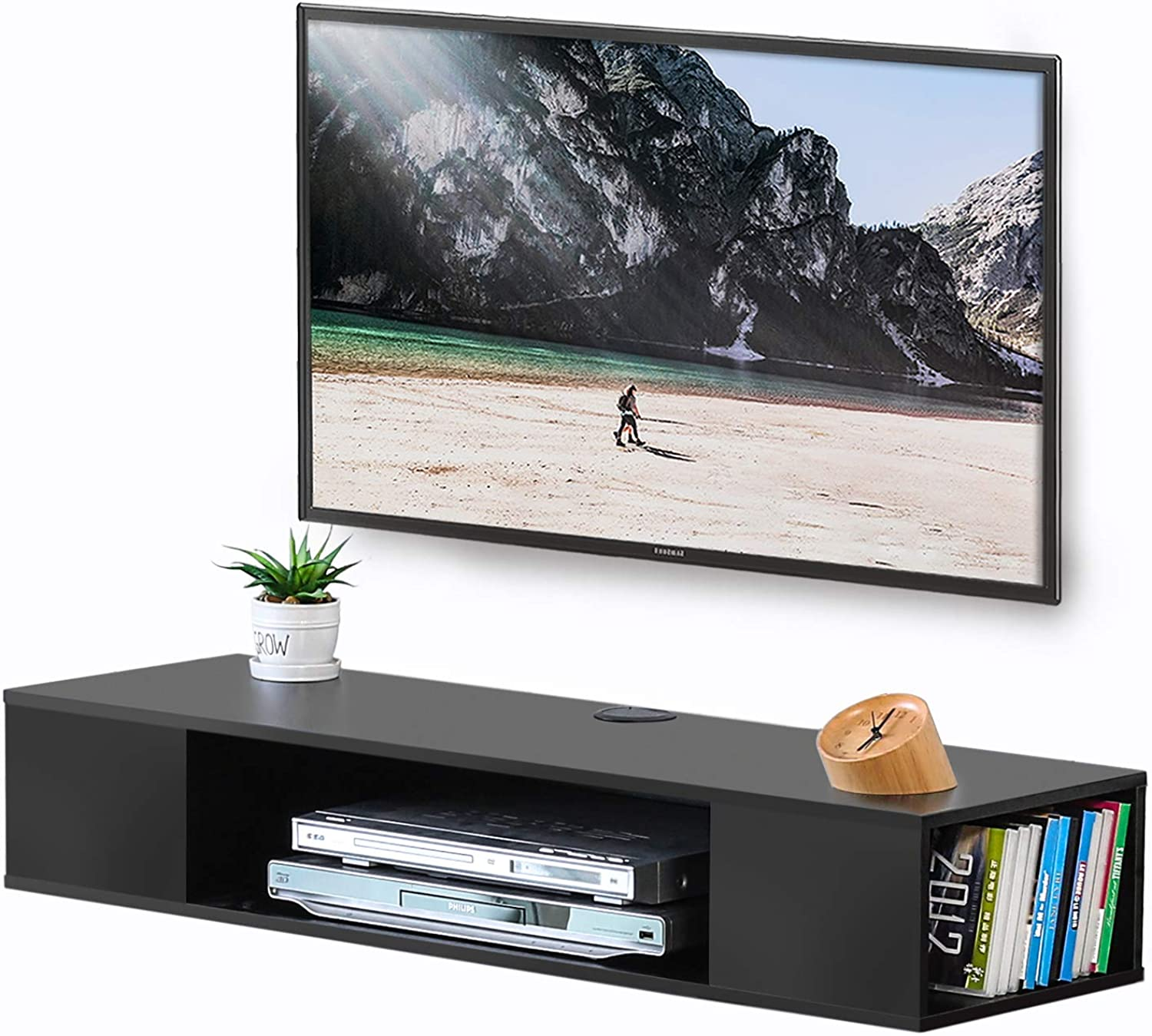 FITUEYES Floating TV Cabinet Stand Wall Mounted AV Shelf Entertainment Unit,Black