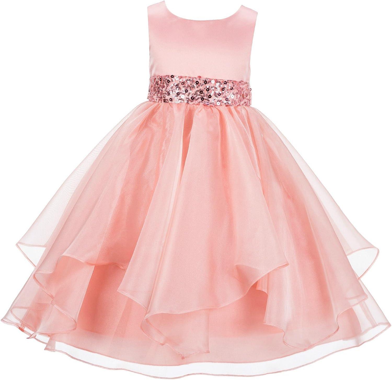 ekidsbridal Asymmetric Ruffled Organza Sequin Flower Girl Dress Princess Dresses 012S 10 Peach
