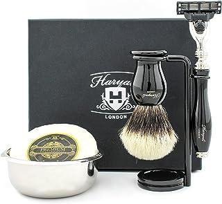 Profesjonalny zestaw do golenia dla mężczyzn – uchwyt z żywicy srebrnych końcówek do borsuka z podstawką do golenia i misk...