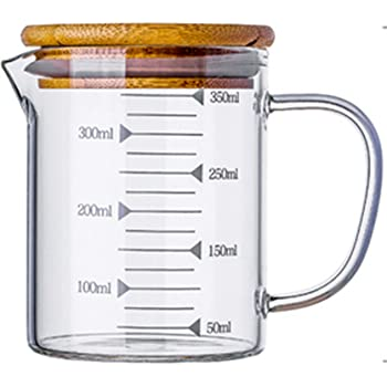KINNOSE Graduated Beaker Mug with Handle and Durable Bamboo Lid Borosilicate Glass Multi-Function Food Grade Measuring Cup 350ML
