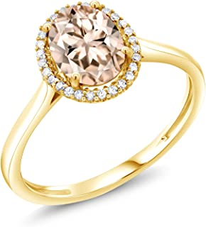 Peach Morganite and Diamond Accent 10K Yellow Gold Women's Ring 1.00 Ctw Oval Available in (Available 5,6,7,8,9)