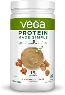 Vega Protein Made Simple - Caramel Toffee (10 Servings), 9.1 Oz - Delicious Plant Based Healthy Vegan Protein Powder - Stevia Free, Dairy Free, Gluten Free, Non Gmo, No Gums