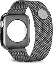 jwacct Compatible for Apple Watch Band with Screen Protector 38mm 40mm 42mm 44mm, Soft TPU Frame Case Cover Bumper Compatible for Apple Series 1/2/3/4